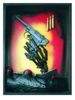DRESSLER, OTTO >Gewalt-Terror-Krieg und Tod sind Brüder< 2005 Materialkollage, Kunststoffverfremdung 40 x 30 x 5cm Exemplar 2/5 Besitz des Künstlers