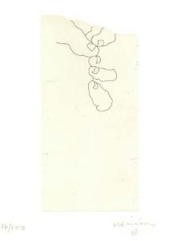 CHILLIDA, EDUARDO >O. T.< 1997 Radierung 22,5 x 11cm Platte auf 37,5 x 27,5cm Arches Exemplar 16/100 aus der hebräischen Edition >Literature or Life< Courtesy Sammlung Kalkmann, Bodenburg