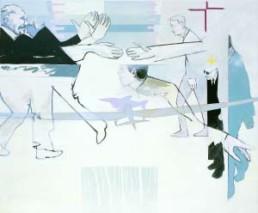 FISCHER, PIÈRRE >Große Fische / kleine Fische< 2003 Öl, Acryl und Lack auf Leinwand 140 x 170cm Besitz des Künstlers