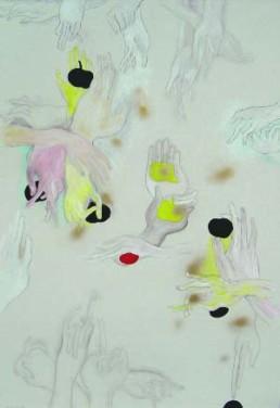 OBERHUBER, OSWALD >Hände der Lust< Mischtechnik 170 x 110cm Besitz des Künstlers
