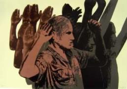 CANOGAR, RAFAEL >La detención< 1972 Siebdruck auf Karton 61,5 x 84cm Exemplar 84/100 Courtesy Sammlung Kalkmann, Bodenburg