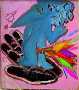 GRZYB, RYSZARD >Cichy iczysty jak figura ze szkta< 1986 Öl auf Leinwand 131,5 x 111cm Courtesy Sammlung Gisela und Dieter Burkamp, Oerlinghausen