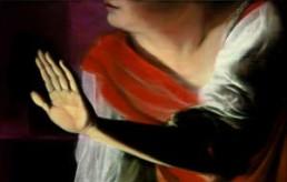RATTRAY, DIANA >The listening Hand< 2005 Mischtechnik auf Papier dreiteilige Arbeit, Abbildung Mittelteil einzeln gerahmt unter Glas 70 x 300cm Besitz der Künstlerin