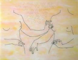 SCHNEIDER, KLAUS >das Denken ist nur ein Traum des Fühlens...< 2005 Lack und Pigmente hinter Acrylglas (Hinterglasmalerei) 96 x 125cm Besitz des Künstlers