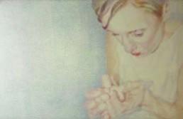THIELE, MONIKA >Ist Zustand II< 2003 Fadenzeichnung, Stickgarn auf Seidenorganza 100 x 150cm Courtesy Galerie Supper, Pforzheim
