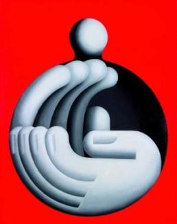 TICHA, HANS >Klatscher< 1993 Öl auf Leinwand 140 x 110cm Besitz des Künstlers