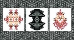BÜRGER, SABINE >Clones and Chromosomes< 2005 Lambda-Print, Fotokopie dreiteilig je 110 x 100cm, Fototapetenfläche 250 x 380cm Besitz der Künstlerin
