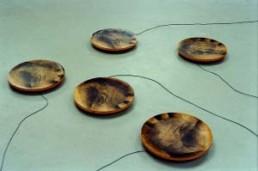 NEUGEBAUER, URSULA >mit Händen auf Füßen< 1994 Fotoemulsion auf Holzscheiben, Elektromotoren 10 x 2000 x 2000 Besitz der Künstlerin