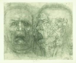 Anderle, Jiri *1936 >Te Homnen Esse Memento< Radierung Ex. 34/50 65,5 x 48 cm Courtesy Sammlung Kalkmann, Bodenburg