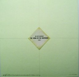 Camesi, Gianfredo *1940 >TU VOIS ET TU ENTENDS< 2006 Bleistift, Offsetdruck, Collage 40 x 40 cm Besitz des Künstlers