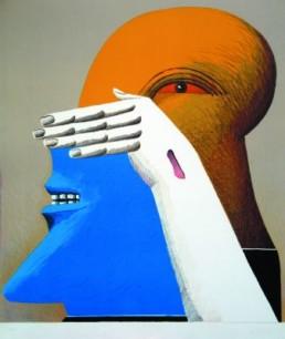 Antes, Horst *1936 »Figur mit zwei Brennweiten«, 1974 Farblithographie 62,5 x 55,5 cm auf 71,5 x 62 cm Exemplar 21/200 Courtesy Sammlung Kalkmann, Bodenburg