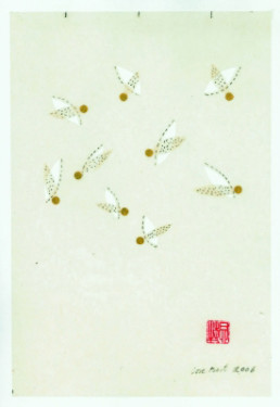 Bert, Lore *1936 »no. 06103«, 2006 Zeichnung auf Wachspapier, Collage, Blattgold 26,2 x 18 cm Courtesy Sammlung Kalkmann, Bodenburg