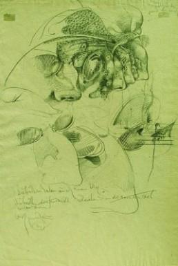 Gerresheim, Bert *1935 »Zeichnung zu Savonarola«, ohne Jahr Bleistiftzeichnung und Frottage auf bräunlich getöntem Velin 40 x 27,5 cm Courtesy Sammlung Kalkmann, Bodenburg