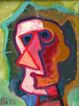 Hofer, Karl *1878 †1955 »Kopf mit dreieckiger Nase«, 1951 Öl auf Hartfaser 46 x 35 cm Courtesy Ralf-Friedrich Fahrenbach, Berlin