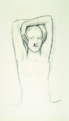 Kraijer, Juul *1970 »ohne Titel«, 2005-2007 Kohle und Tinte auf Papier 88,5 x 50 cm Besitz der Künstlerin