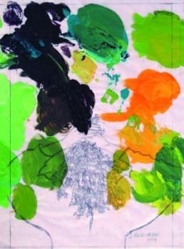"""Nicod-Urban, Jacqueline *1938 »Flower´s Fragrance«, 2006 Mischtechnik auf """"papier d´emballage de boucher"""" 49,5 x 37 cm, gemalt bis zum Blattrand Passepartoutöffnung: 45 x 32cm Besitz der Künstlerin Niebuhr, Louis"""
