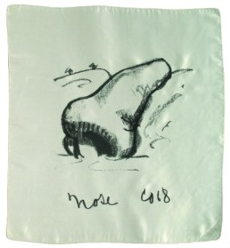 Oldenburg, Claes *1928 »Nose / Handkerchief«, 1968 s/w - Serigraphie auf weißer Seide 48 x 48 cm Exemplar 98/150 Courtesy Sammlung Kalkmann, Bodenburg