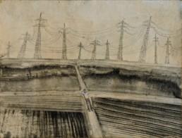 """Hans Lemmen """"Waldeinsamkeit im Rübenfeld"""", 2000 Zeichnung 000 cm Besitz des Künstlers"""