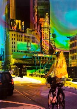 Helle Jetzig >NY Reloaded B 20< (Alice) 2017 Malerei und Siebdruck auf Fotografie 140 x 100 x 6 cm