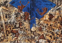 """Jörg Immendorff """"Tal des Unsinns"""", 1988 Farblithographie (drei Farben) auf Rives-Bütten, 70 x 100 cm Sammlung der Volksbank Hildesheim"""